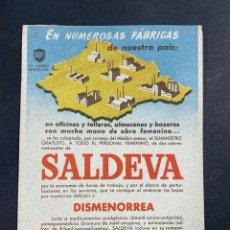 Coleccionismo Papel secante: PAPEL SECANTE. SALDEVA. PARA LA DISMENORREA. DR. ANDREU. BARCELONA.. Lote 206868002