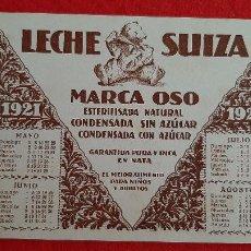 Colecionismo Mata-borrão: PAPEL SECANTE PUBLICIDAD LECHE SUIZA MARCA OSO CON CALENDARIO 1921 ORIGINAL SJ8. Lote 208740805