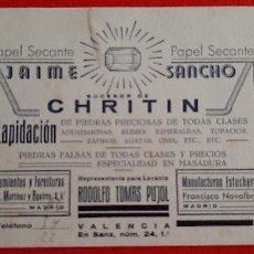 Collectionnisme Papier buvard: PAPEL SECANTE PUBLICIDAD PIEDRAS JAIME SANCHO CHRITIN VALENCIA ORIGINAL SJ10. Lote 208756460
