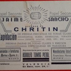Collectionnisme Papier buvard: PAPEL SECANTE PUBLICIDAD PIEDRAS JAIME SANCHO CHRITIN VALENCIA BLANCO ORIGINAL SJ10. Lote 208756521