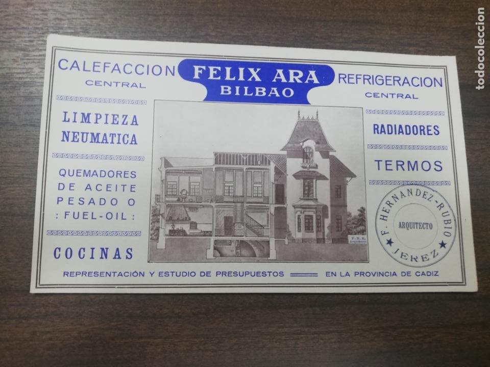 PAPEL SECANTE. FELIX ARA, BILBAO. CALEFACCION Y REFRIGERACION CENTRAL. RADIADORES TERMOS. (Coleccionismo - Papel Secante)