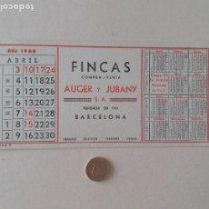 Coleccionismo Papel secante: PAPEL SECANTE PUBLICIDAD DE FINCAS AUGER Y JUBANY. ABRIL1960. SIN USAR.. Lote 211390089