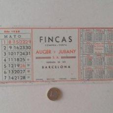 Coleccionismo Papel secante: PAPEL SECANTE PUBLICIDAD DE FINCAS AUGER Y JUBANY. MAYO 1960. POCO USADO.. Lote 211390375