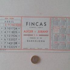 Coleccionismo Papel secante: PAPEL SECANTE PUBLICIDAD DE FINCAS AUGER Y JUBANY. ABRIL 1961. SIN USAR.. Lote 211390475