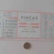 Coleccionismo Papel secante: PAPEL SECANTE PUBLICIDAD DE FINCAS AUGER Y JUBANY. MAYO 1961. SIN USAR.. Lote 211390564