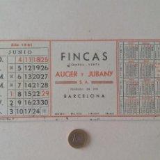 Coleccionismo Papel secante: PAPEL SECANTE PUBLICIDAD DE FINCAS AUGER Y JUBANY. JUNIO 1961. POCO USADO.. Lote 211390772