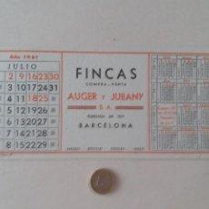 Coleccionismo Papel secante: PAPEL SECANTE PUBLICIDAD DE FINCAS AUGER Y JUBANY. JULIO 1961. POCO USADO.. Lote 211390832
