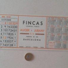 Coleccionismo Papel secante: PAPEL SECANTE PUBLICIDAD DE FINCAS AUGER Y JUBANY. OCTUBRE 1961. SIN USAR.. Lote 211391037