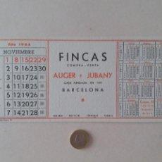 Coleccionismo Papel secante: PAPEL SECANTE PUBLICIDAD DE FINCAS AUGER Y JUBANY. NOVIEMBRE 1964. SIN USAR.. Lote 211423017