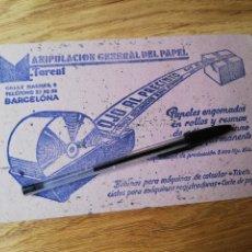 Coleccionismo Papel secante: PAPEL SECANTE MANIPULADOS DE PAPEL TORENT BARCELONA. Lote 213539856