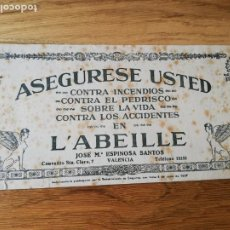 Coleccionismo Papel secante: PAPEL SECANTE SEGUROS L´ABEILLE AÑOS 40?. Lote 213550877