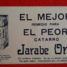 Collectionnisme Papier buvard: PAPEL SECANTE PUBLICIDAD FARMACIA JARABE ORIVE BILBAO ORIGINAL SJ6. Lote 213615586