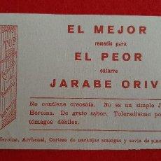 Collectionnisme Papier buvard: PAPEL SECANTE PUBLICIDAD FARMACIA JARABE ORIVE ORIGINAL SJ3. Lote 213615608