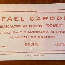 """Coleccionismo Papel secante: PAPEL SECANTE PUBLICIDAD """"RAFAEL CARDONA - ELABORACIÓN DE ARROCES BOMBA"""" PEGO - ALICANTE. Lote 214864392"""