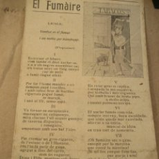 Coleccionismo Papel secante: PAPEL SECANTE . . EL FUMAIRE . POEMA AL FUMADOR . CATALÀ. CALELLA.. Lote 217709963