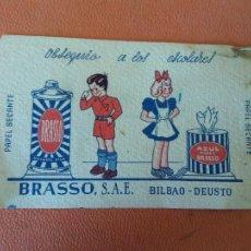 Coleccionismo Papel secante: OBSEQUIO A LOS ESCOLARES. PAPEL SECANTE. BRASSO, S.A.E. BILBAO-DEUSTO.. Lote 219044087