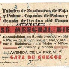 Coleccionismo Papel secante: GATA DE GORGOS / ALICANTE FABRICA JOSE MENGUAL DIEGO 21.5X12.5. Lote 219739107