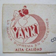 Coleccionismo Papel secante: PUBLICIDAD CALCETINES YANKI-PAPEL SECANTE ANTIGUO-VER FOTOS-(K-731). Lote 221725143