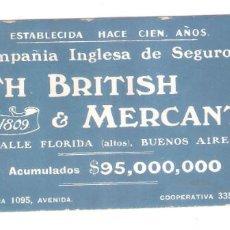 Coleccionismo Papel secante: SEGUROS, NORTH BRITISH & MERCANTILE. BUENOS AIRES. VELL I BELL.. Lote 221816183