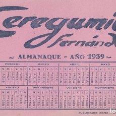 Coleccionismo Papel secante: SECANTE CEREGUMIL FERNÁNDEZ. ALMANAQUE AÑO 1939. Lote 221874837