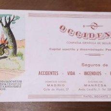 Coleccionismo Papel secante: PAPEL SECANTE SEGUROS OCCIDENTE. MADID, MANRESA, BARCELONA. COMIC.. Lote 221990566