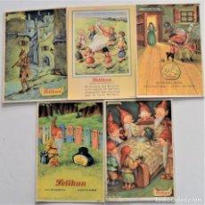 Coleccionismo Papel secante: LOTE 5 SECANTES DIFERENTES PELIKAN FLAUTISTA DE HAMELÍN, BELLA DURMIENTE Y OTROS. Lote 222493208