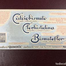 Coleccionismo Papel secante: PAPEL SECANTE - CALCIO BISMUTO CLORHISTIDINA BIMUTOFLOR - LABORATORIO QUIMIXOL MADRID- 24X12CM. Lote 224484457