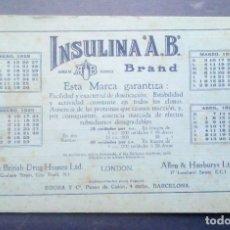 Coleccionismo Papel secante: PAPEL SECANTE - PUBLICIDAD INSULINA AB. BRAND.. Lote 287947148
