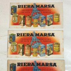 Coleccionismo Papel secante: TRES SECANTES IGUALES - RIERA MARSA. Lote 230831215
