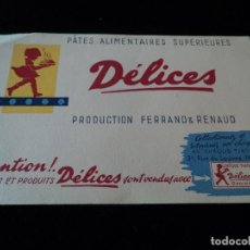Coleccionismo Papel secante: PAPEL SECANTE, PUBLICIDAD DE PATÉS DELICES, CHEQUE TINTIN. 22 X 13 CM. Lote 237653165