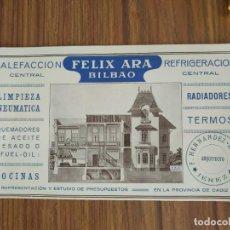 Coleccionismo Papel secante: PAPEL SECANTE. FELIX ARA, BILBAO. CALEFACCION Y REFRIGERACION CENTRAL. RADIADORES TERMOS.. Lote 238402160