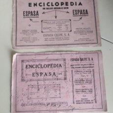 Coleccionismo Papel secante: LOTE DOS PAPELES SECANTES ENCICLOPEDIA ESPASA - CALPE, FABRICADO POR LA PAPELERA ESPAÑOLA.. Lote 239717735