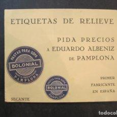 Coleccionismo Papel secante: PAMPLONA-ETIQUETAS DE RELIEVE ALBENIZ-PAPEL SECANTE PUBLICIDAD-SOPA BOLONIAL-VER FOTOS-(K-1839). Lote 240518070