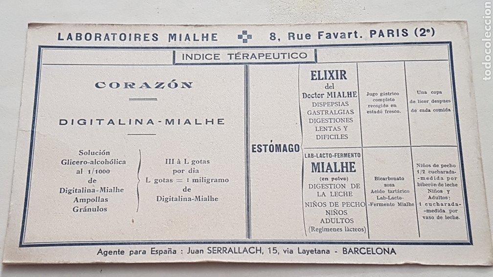 PAPEL SECANTE ANTIGUO PUBLICIDAD LAVORATORIES MIALHE (Coleccionismo - Papel Secante)