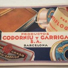 Coleccionismo Papel secante: PAPEL SECANTE PUBLICIDAD CODORNIU Y GARRIGA S.A BARCELONA. Lote 244765940