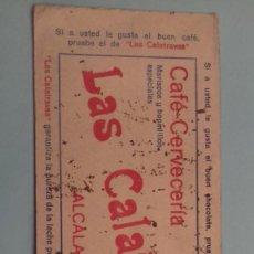 Coleccionismo Papel secante: PAPEL SECANTE PUBLICIDAD ANTIGUO CAFÉ LAS CALATRAVAS, CALLE ALCALÁ, MADRID. MEDIDAS 24 X 10,5 CM. Lote 245108000