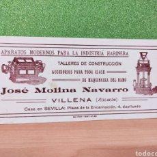 Coleccionismo Papel secante: PAPEL SECANTE APARATOS MODERNOS PARA LA INDUSTRIA HARINERA JOSÉ MOLINA NAVARRO VILLENA ALICANTE -. Lote 246789315