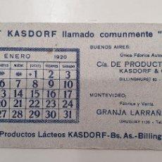 Coleccionismo Papel secante: PAPEL SECANTE YOGURT KASDORF 1919. Lote 248360185