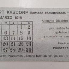 Coleccionismo Papel secante: PAPEL SECANTE YOGURT KASDORF 1918. Lote 248360335