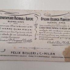 Coleccionismo Papel secante: PAPEL SECANTE HIERRO QUINA BISLERI PRINCIPIOS AÑOS 20. Lote 248360785