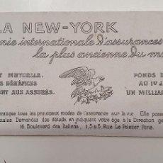 Coleccionismo Papel secante: PAPEL SECANTE LA NEW YORK AÑOS 20. Lote 248361305