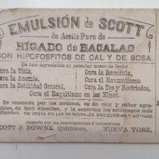 Coleccionismo Papel secante: PAPEL SECANTE EMULSION DE SCOTT AÑOS 20. Lote 248361615