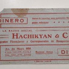 Coleccionismo Papel secante: PAPEL SECANTE HACHIKYAN Y CIA BANQUEROS AÑOS 20. Lote 248362910