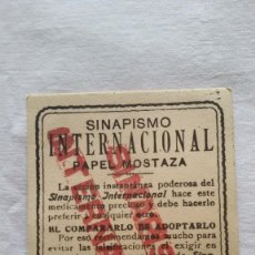 Coleccionismo Papel secante: TARJETA ANTIGUA PUBLICIDAD DE FARMACIA-SINAPISMO INTERNACIONAL-PAPEL MOSTAZA MIDE 8 X 12 CM -. Lote 268309619