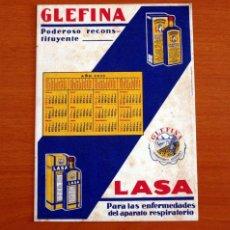 Coleccionismo Papel secante: PAPEL SECANTE - PUBLICIDAD - LABORATORIOS ANDRÓMACO - GLEFINA Y LASA - CALENDARIO AÑO 1932. Lote 276368533