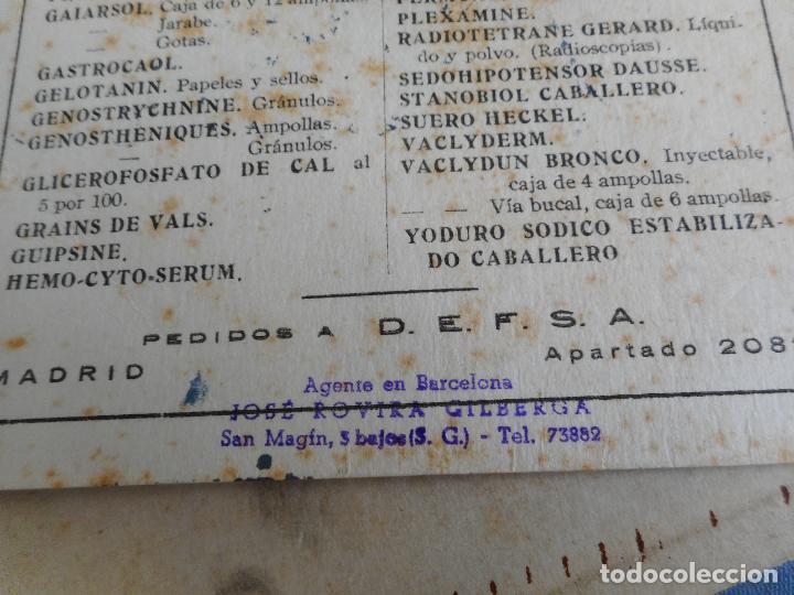 Coleccionismo Papel secante: ANTIGUIO PAPEL SECANTE.LABORATORIOS INTEFAR.S.A JOSE ROVIRA GILBERGA.AGENTE EN BARCELONA. - Foto 3 - 277538928