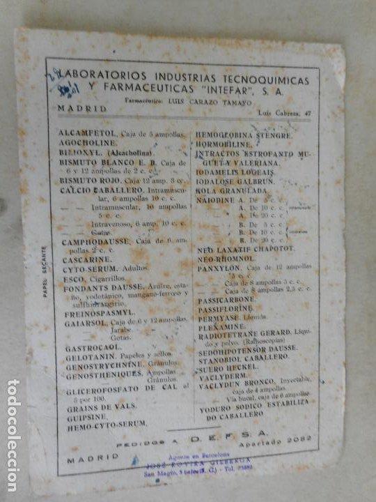 ANTIGUIO PAPEL SECANTE.LABORATORIOS INTEFAR.S.A JOSE ROVIRA GILBERGA.AGENTE EN BARCELONA. (Coleccionismo - Papel Secante)