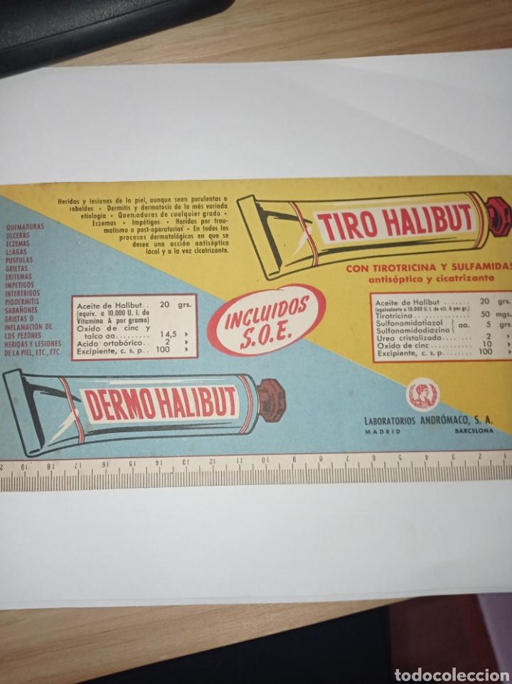 ANTIGUA PUBLICIDAD TIRO HALIBUT CON REGLA. LABORATORIOS ANDRÓMACO. FARMACIA. AÑOS 50-60 (Coleccionismo - Papel Secante)