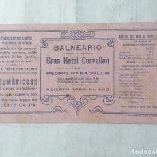 Colecionismo Mata-borrão: PAPEL SECANTE, BALNEARIO GRAN HOTEL CERVELLON, VILLAVIEJA DE NULES, MEDIDAS 21,5 X 10,5 CM. Lote 287021898