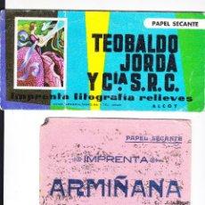 Coleccionismo Papel secante: 2 PAPEL SECANTE USADOS ANTIGUOS DE ALCOY (SIGLO PASADO) TEOBALDO JORDÁ E IMP. ARMIÑANA. Lote 295479923